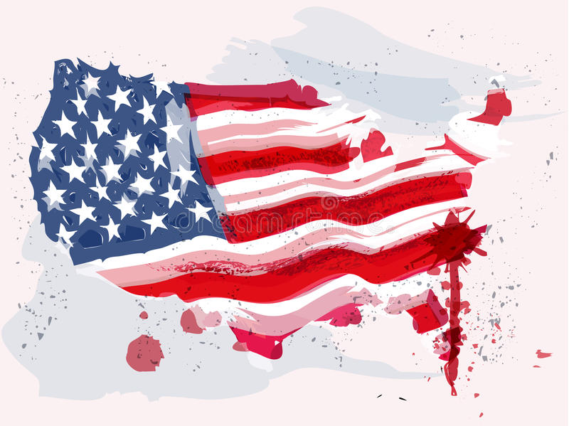 Usa flag in water color paint. stock illustration