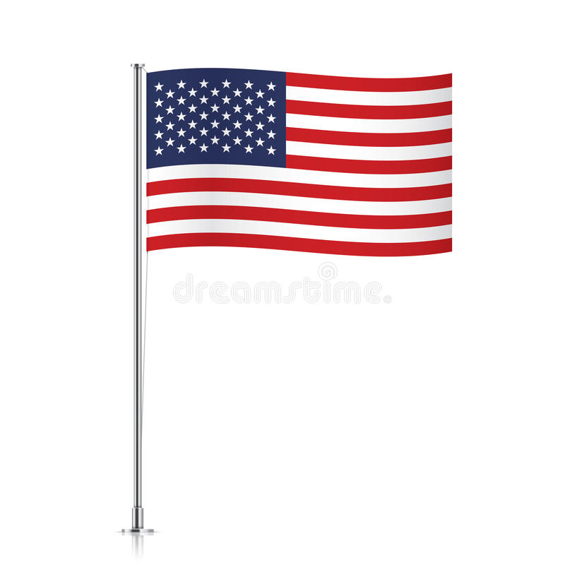Free USA Flag Waving On A Metallic Pole. Stock Images - 84556724