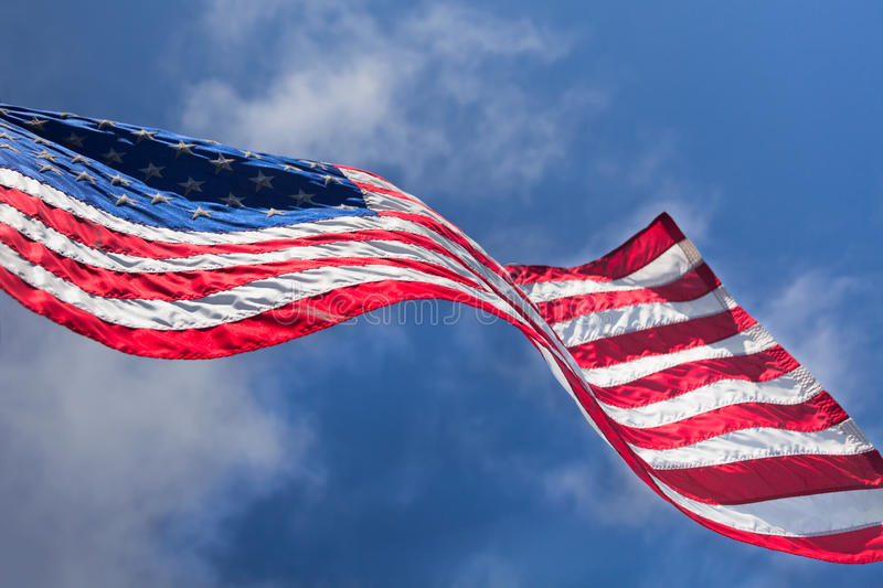 USA Flag Waving On The Wind Royalty Free Stock Photography