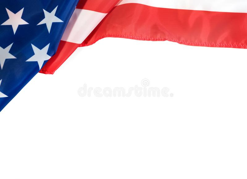 USA flag on white background for Memorial Day or 4th of July stock photography