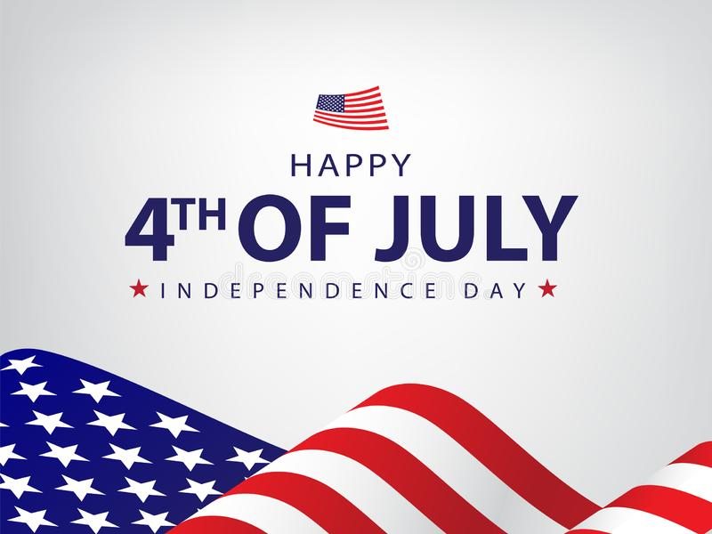 Happy 4th of July, Independence Day Background, Card, Banner, Wallpaper Vector illustration. USA Flag with White text Happy 4th of July, Independence Day is a stock illustration