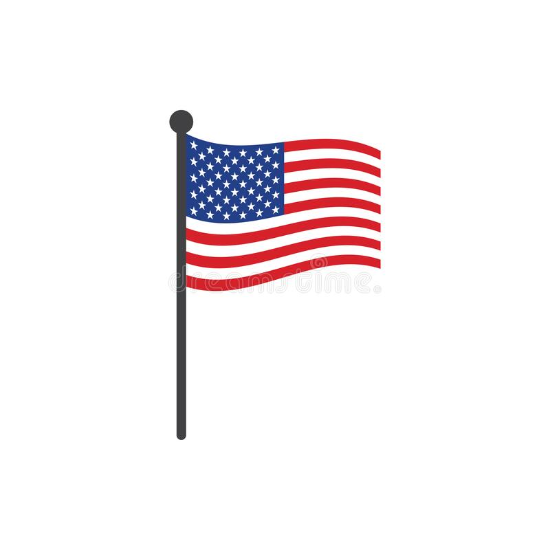Free USA Flag With Pole Icon Vector Isolated On White Background Royalty Free Stock Photo - 195128225