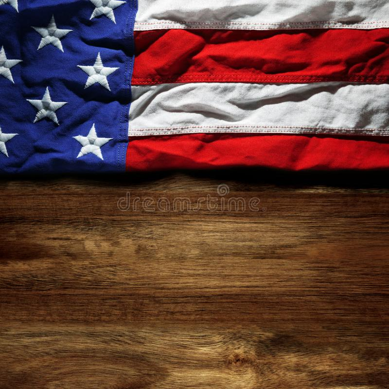 USA flag on wood royalty free stock image
