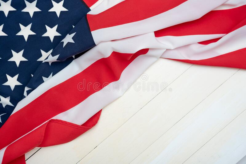 USA flag on wooden table for background royalty free stock photo