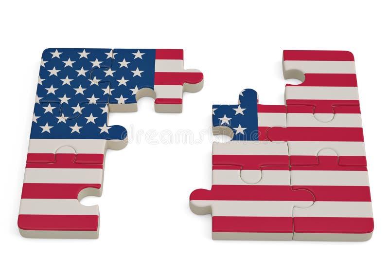 USA flaga łamigłówka na białym tle ilustracja 3 d ilustracja wektor