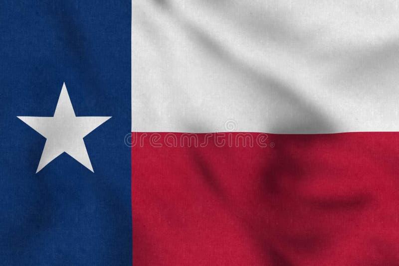 USA flaga delikatnie macha w wiatrze Teksas ilustracja wektor