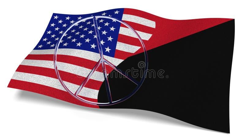 USA flaga i Antifa zaznaczamy z pokoju znakiem ilustracji