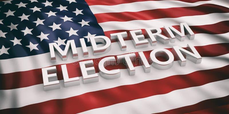 USA flaga i połowa semestru wybory, 3d ilustracja royalty ilustracja