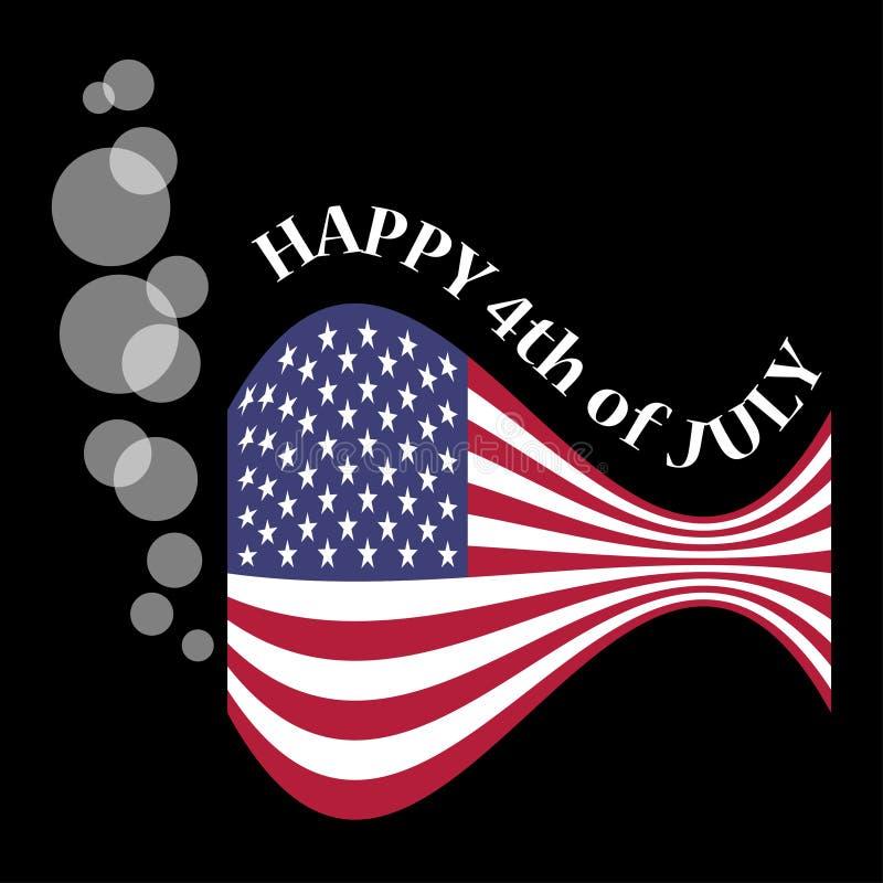 USA flaga jako ryba z bąblami ilustracja wektor