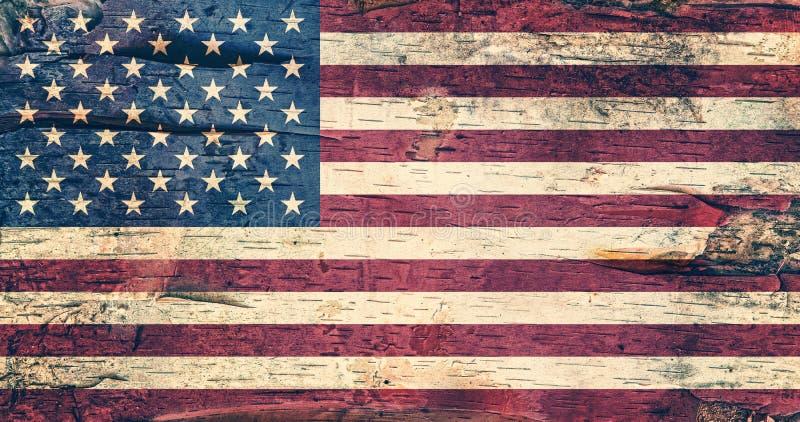 USA flaga na brzozy barkentynie obraz stock