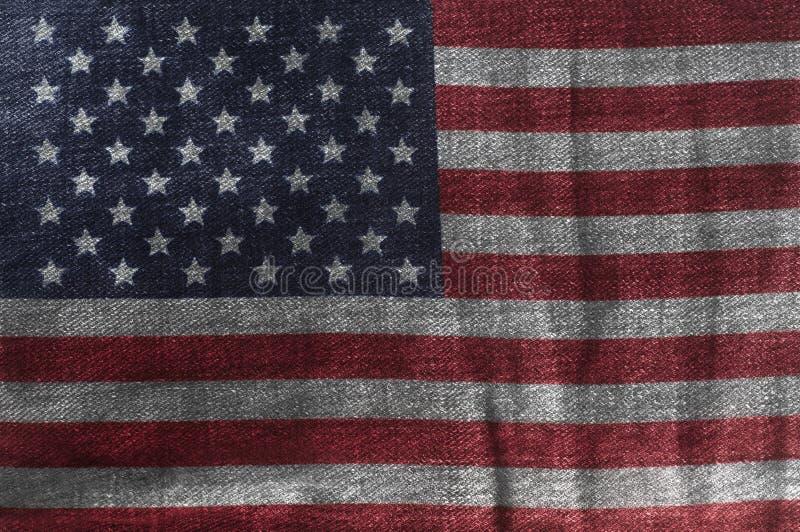 USA flaga Na cajgu drelichu teksturze Zbliżenie Stany Zjednoczone Ameryka flaga royalty ilustracja