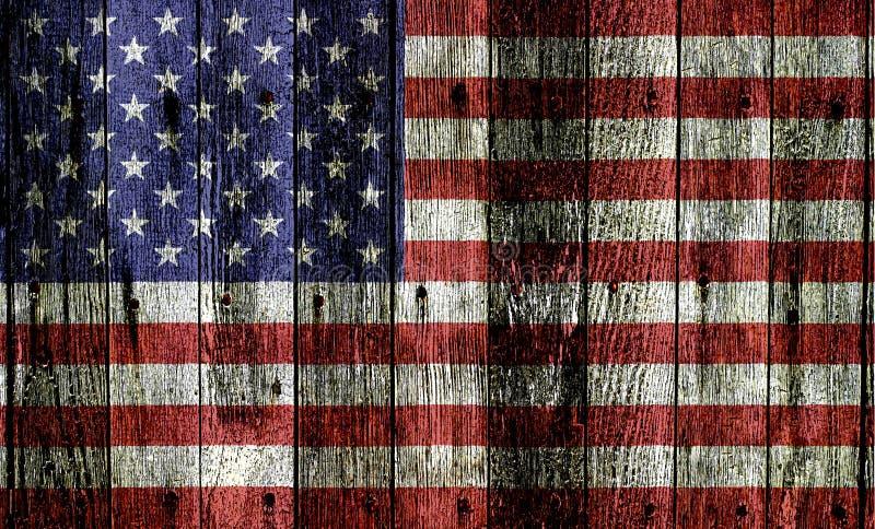 Usa flaga Na drewnie zdjęcia stock