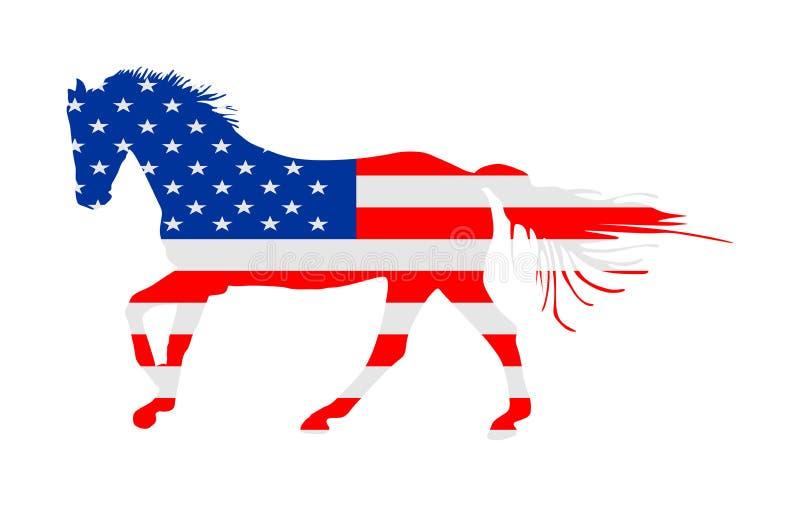 USA flaga nad eleganckim bieżnym koniem w cwał wektorowej ilustracji odizolowywającej na bielu Hipodrom rozrywka i uprawiać hazar royalty ilustracja