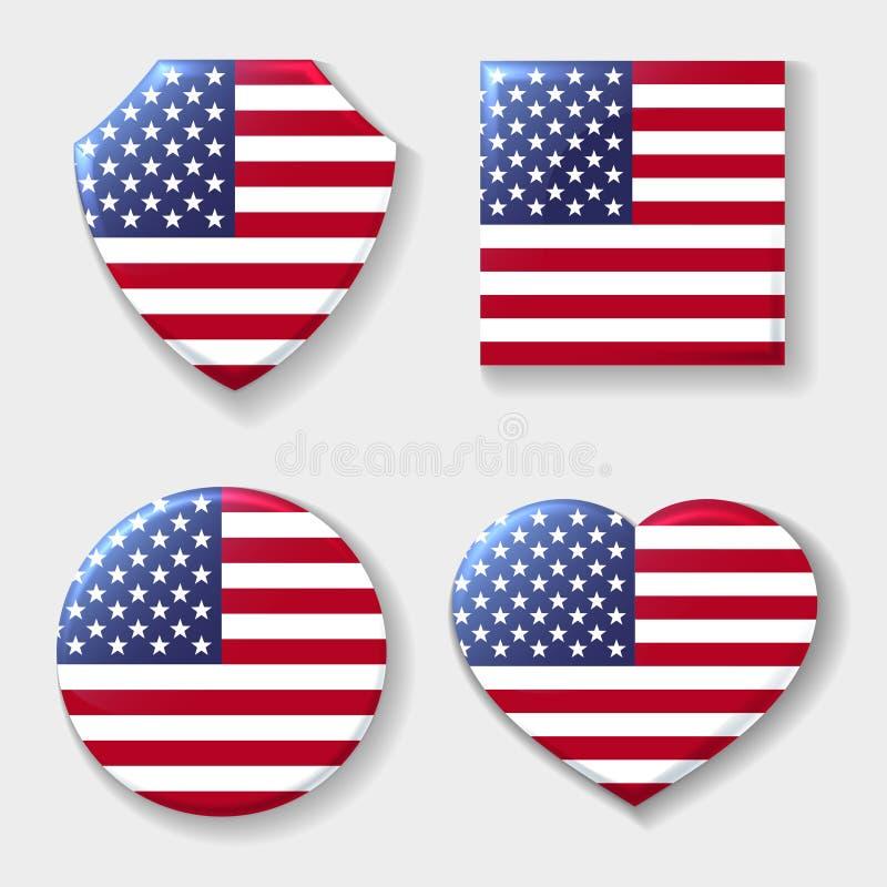 Usa flaga państowowa emblemata set ilustracji
