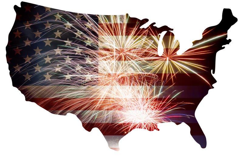 USA flaga w mapy sylwetce z fajerwerkami ilustracji
