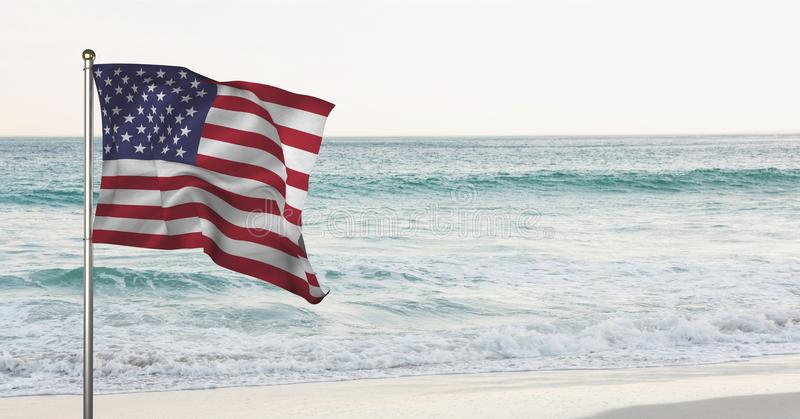 USA flaga w plaży obraz stock