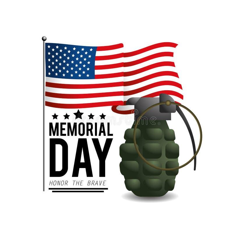 Usa flaga z granatem dzień pamięci ilustracja wektor