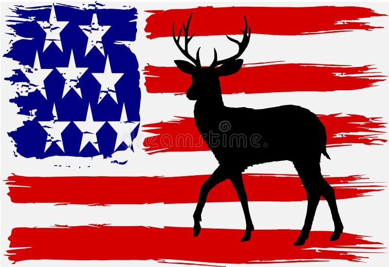 USA flaga Z Jelenią sylwetką royalty ilustracja