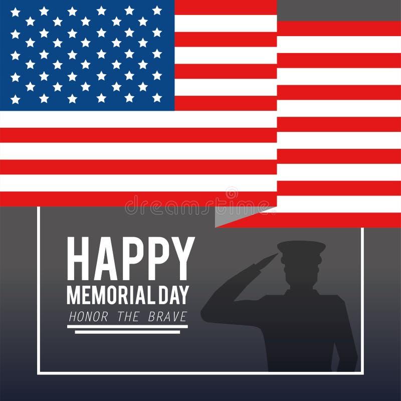 Usa flaga z wojskowy dzień pamięci ilustracja wektor