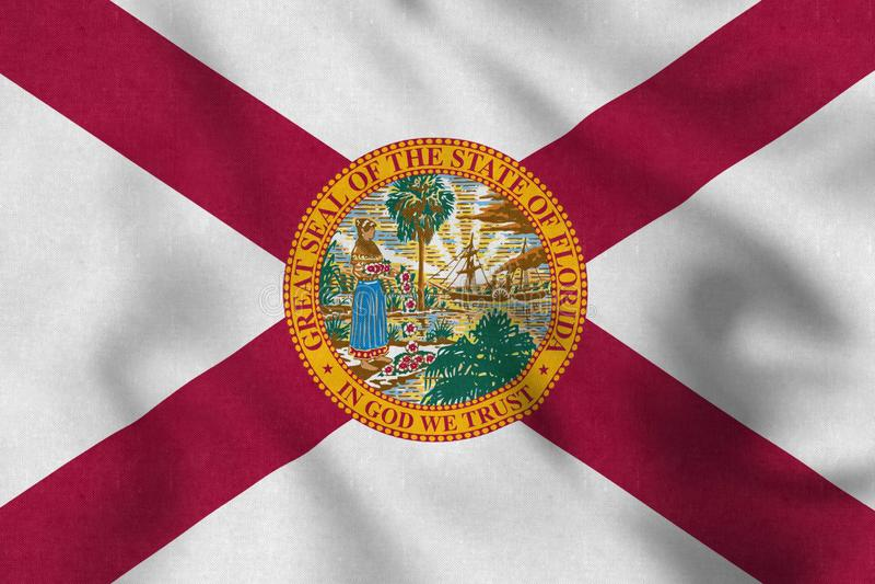 USA flagga av Florida som vinkar försiktigt i vinden royaltyfri illustrationer