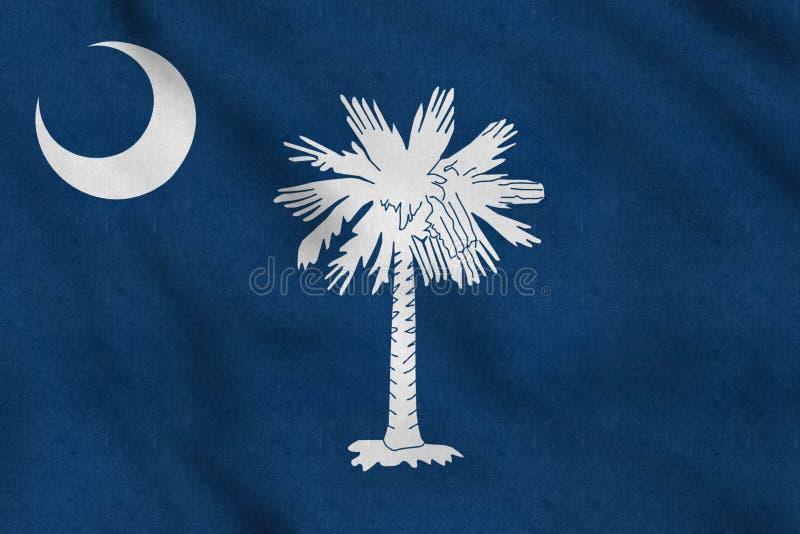 USA flagga av South Carolina som vinkar f?rsiktigt i vinden stock illustrationer