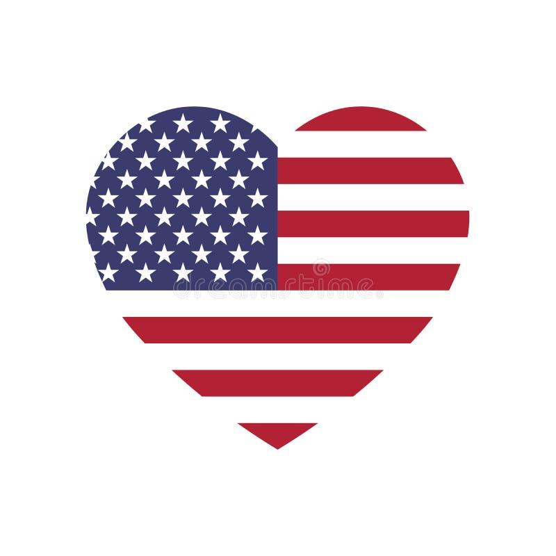 USA flagga i en form av hjärta Patriotisk nationell symblol av Amerikas förenta stater Enkel plan vektorillustration vektor illustrationer