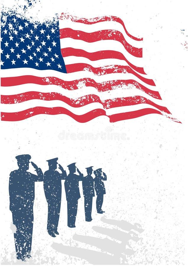USA flagga med att salutera för soldater. vektor illustrationer