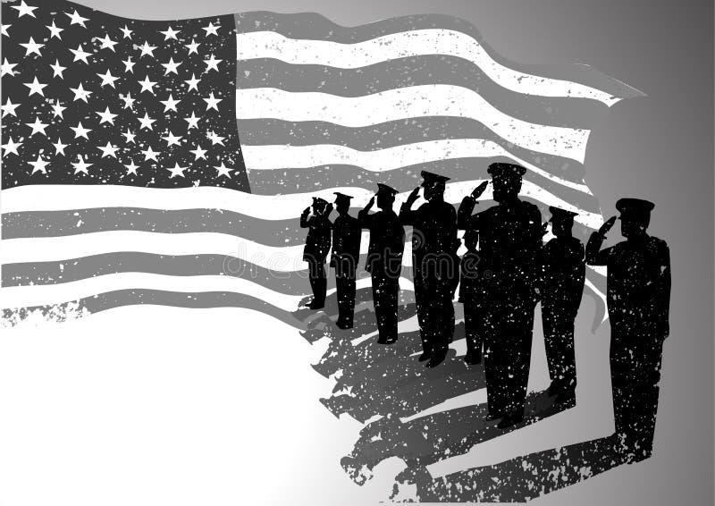 USA flagga med att salutera för soldater. royaltyfri illustrationer