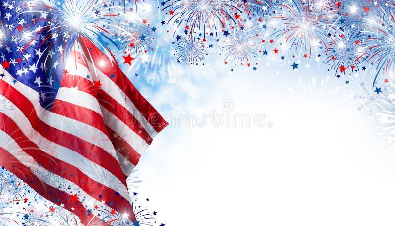 USA flagga med fyrverkeribakgrund för 4 den juli självständighetsdagen royaltyfri illustrationer