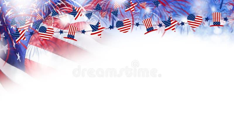 USA flagga med fyrverkeribakgrund för 4 den juli självständighetsdagen vektor illustrationer