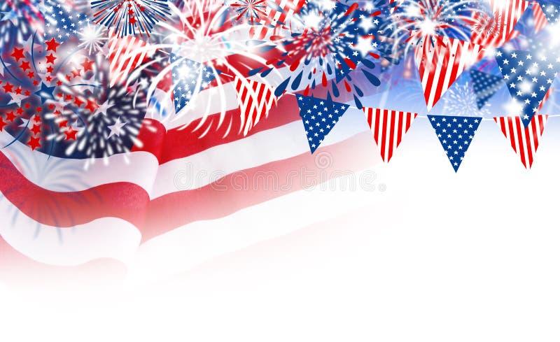 USA flagga med fyrverkerier på vit bakgrund vektor illustrationer