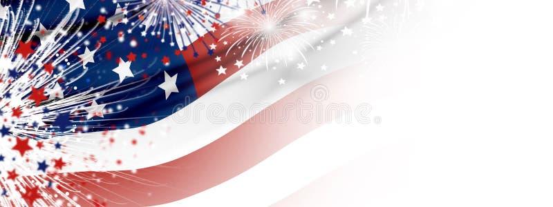 USA flagga med fyrverkerier p? vit bakgrund stock illustrationer