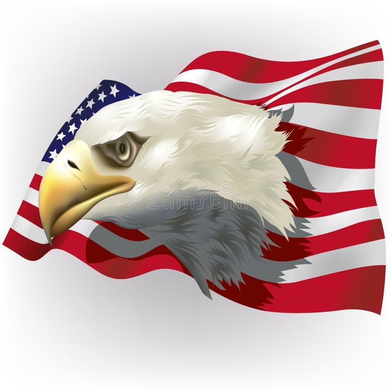 USA-flagga med skalliga Eagle Head vektor illustrationer