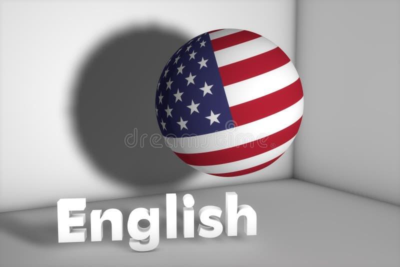 USA FLAGGA och engelskt namn 3d framf?r vektor illustrationer