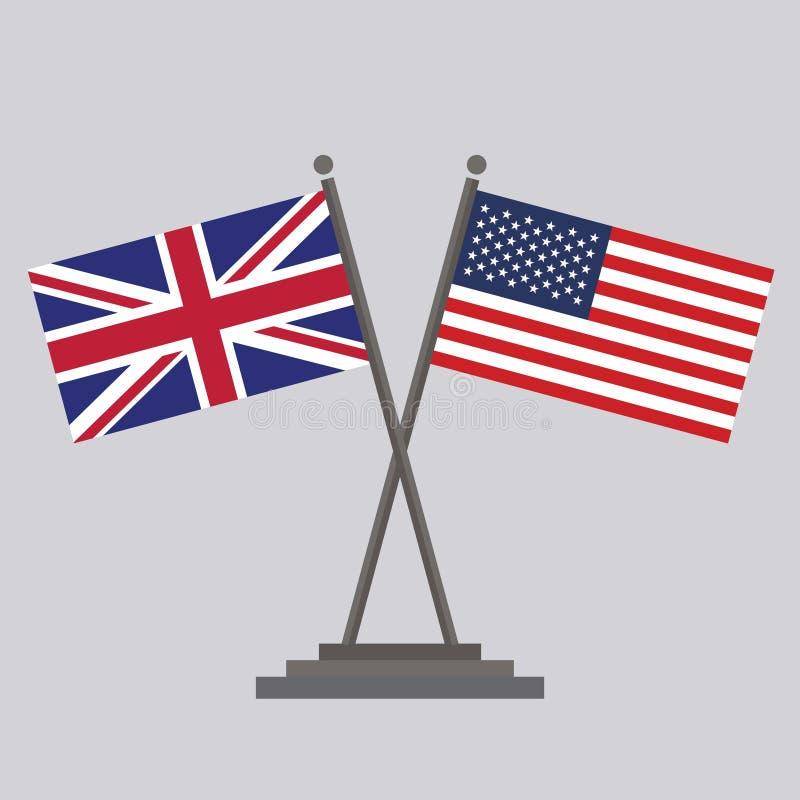 USA flagga och UK-flagga royaltyfri illustrationer