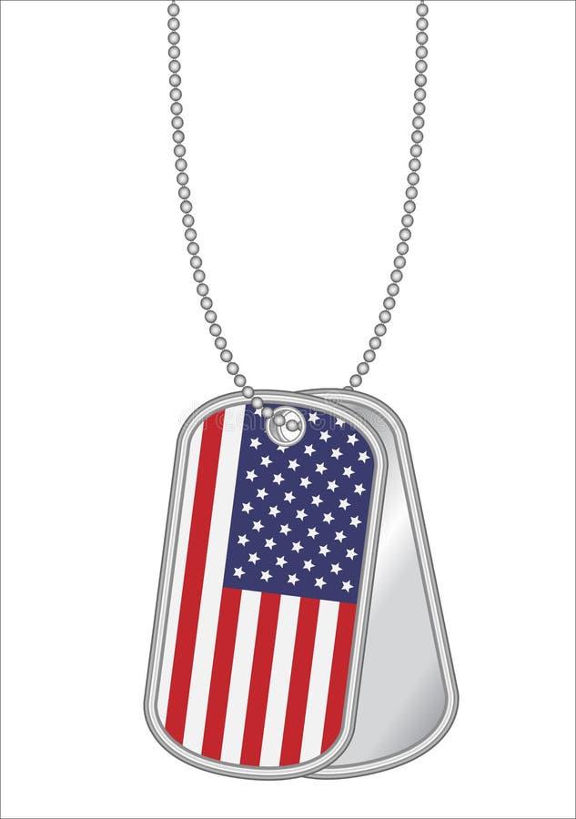 USA flagga på en stålhundetikett vektor illustrationer