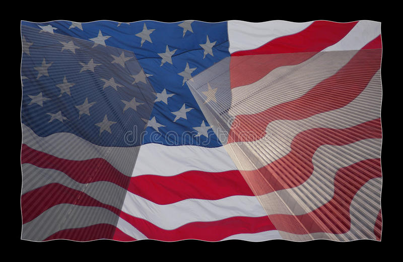 USA flagga på World Trade Center arkivbild