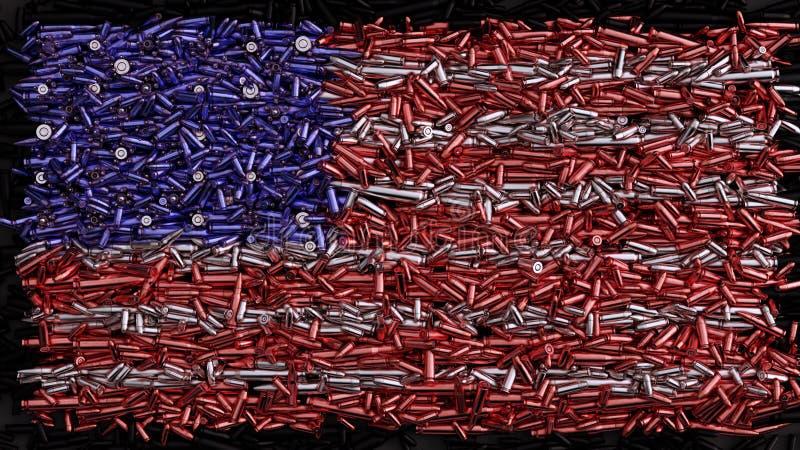 USA flagga som bildas ut ur kulor stock illustrationer