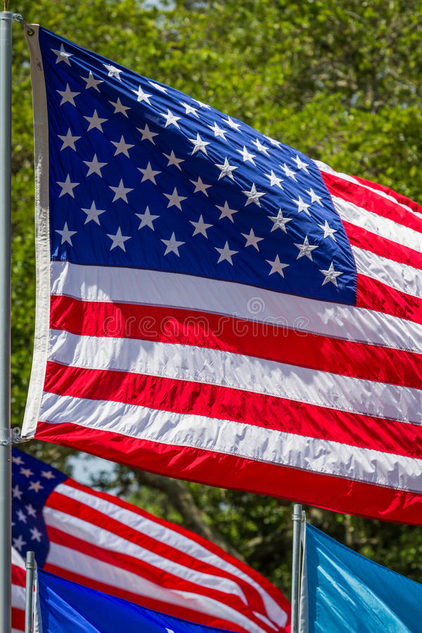 USA-flagga som blåser i vinden arkivbilder