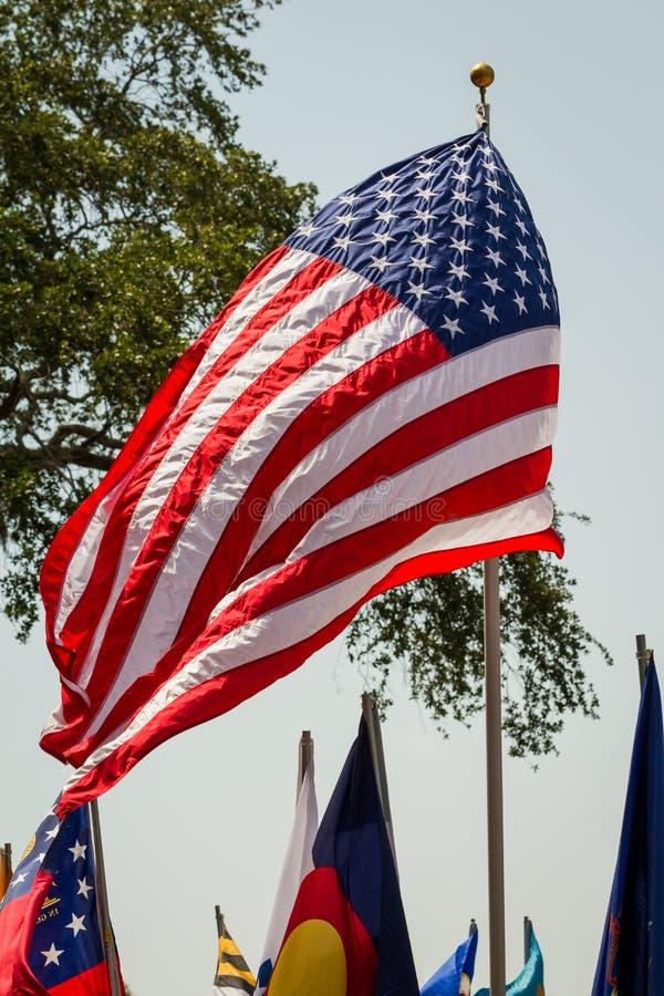 USA-flagga som blåser i vinden royaltyfria foton