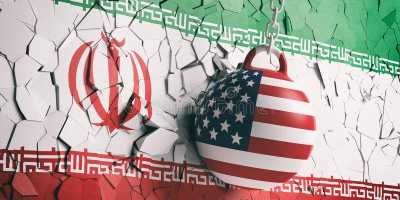 USA flagga som havererar bollen som bryter en Iran flaggavägg illustration 3d royaltyfri illustrationer