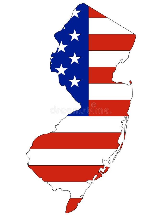 USA flagga som kombineras med översikten av USA-förbundsstaten av nytt - ärmlös tröja stock illustrationer
