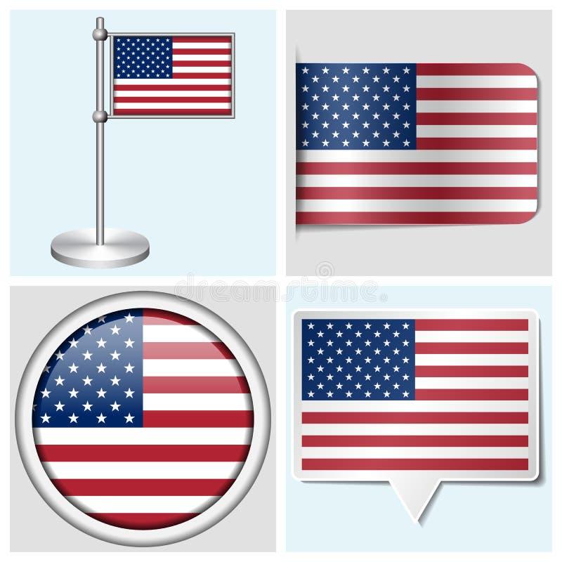 USA flagga - uppsättning av klistermärken, knappen, etiketten och flaggstången stock illustrationer