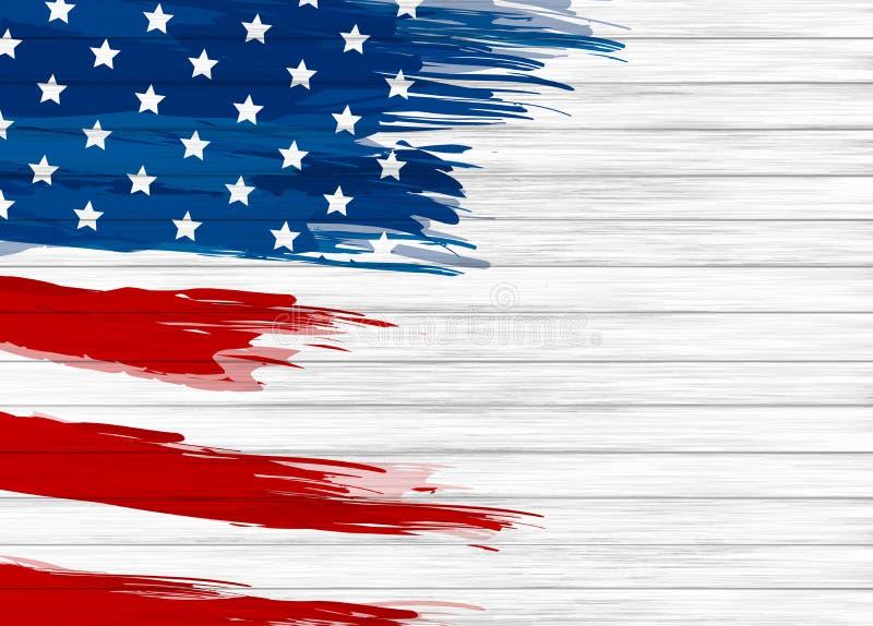 USA flaggamålarfärg på den vita wood bakgrundsvektorillustrationen vektor illustrationer