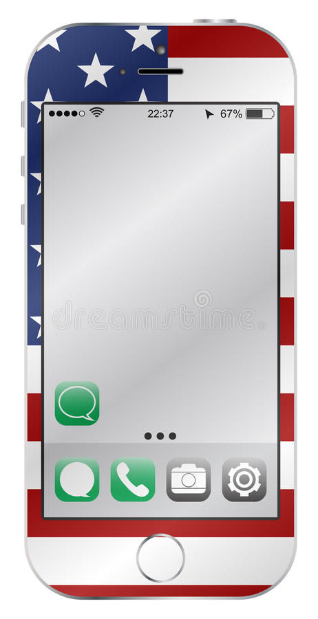 USA flaggamobiltelefon royaltyfri illustrationer