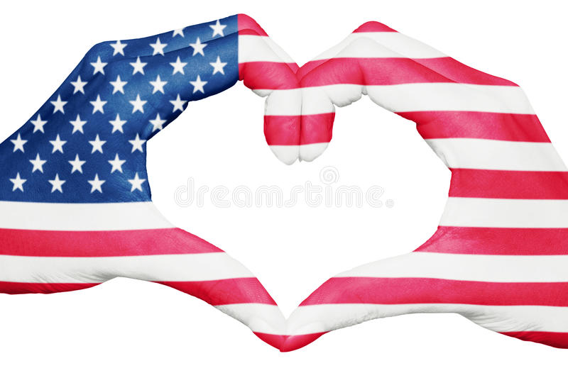 USA flaggan målade på händer som bildar en hjärta som isolerades på det vita bakgrund, Amerikas förenta stater medborgare och pat royaltyfria foton