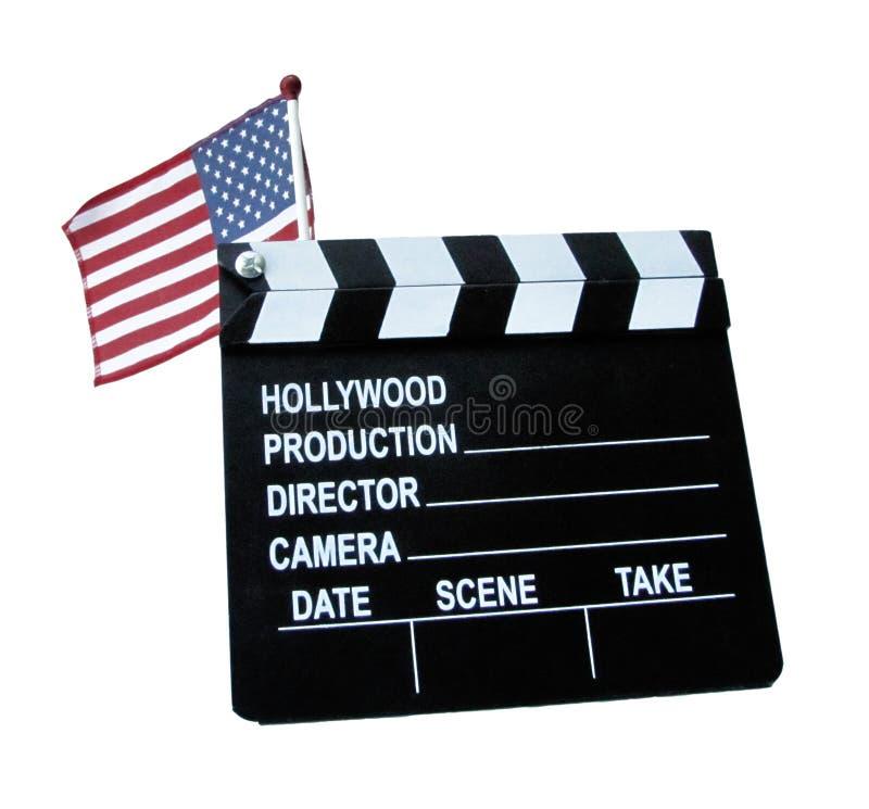 USA flaggan med filmbrädegemet arkivbild