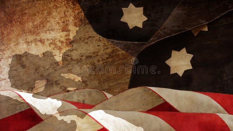 USA-Flagge bewegt auf Holz wellenartig stockfoto