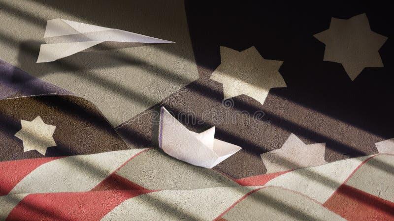 USA-Flagge bewegt Papierboot und Flugzeug wellenartig stockfotos