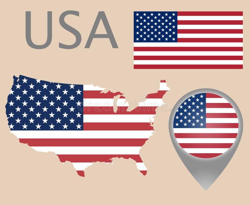 USA-Flagge, Karte und Kartenzeiger lizenzfreie abbildung